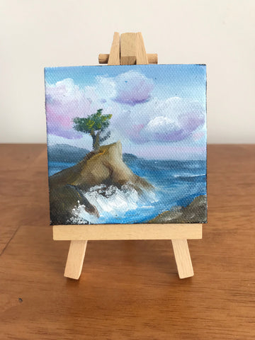 Lone Cypress California Landscape Original OIl Painting - 3x3 Tiny Art - april bern photography