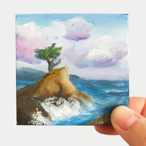 Lone Cypress California Landscape Original OIl Painting - 3x3 Tiny Art