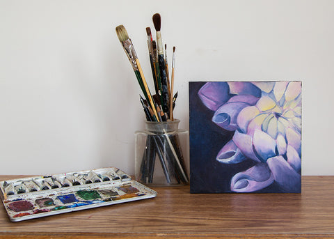 "Dahlia Oil Painting - Flower Painting 8""x8"" - april bern photography"