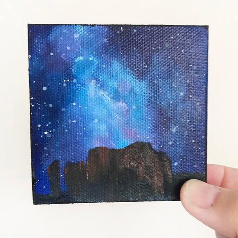 Arizona Landscape Nighttime Sky Original Acrylic Painting - 3x3 Tiny Art