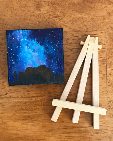 Arizona Landscape Nighttime Sky Original Acrylic Painting - 3x3 Tiny Art - april bern photography