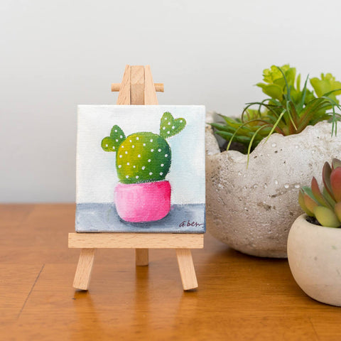 Cute Tiny Cactus Painting - 3x3 Original Oil Painting