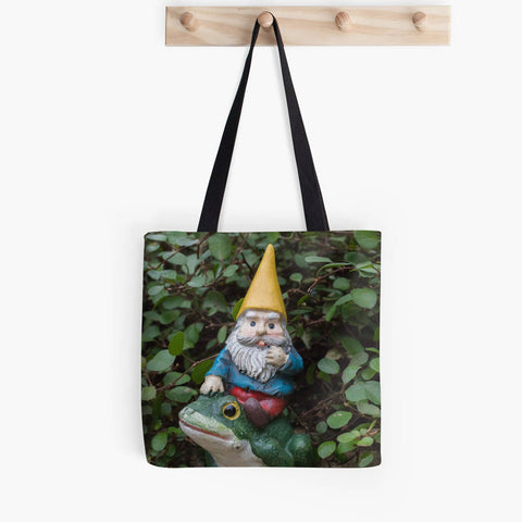 Ready to Ship - 13x13 Garden Gnome & Frog Canvas Tote Bag