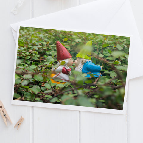 Valentines Day Kissing Garden Gnome Blank Greeting Card