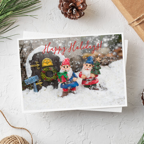 Happy Holidays Gnome Card - Whimsical Holiday Blank Greeting Card