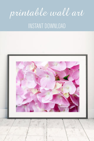 Printable Pink Hydrangea Wall Art - Instant Download - april bern art & photography
