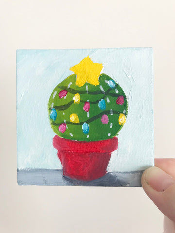 Hand Painted Magnet - Festive Christmas Cactus