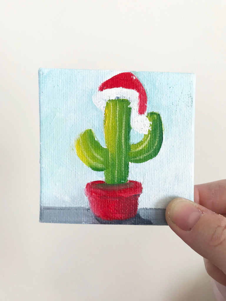 Hand Painted Magnet - Festive Christmas Cactus Refrigerator Magnet - april bern photography