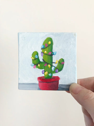 Hand Painted Magnet - Festive Cactus Refrigerator Magnet
