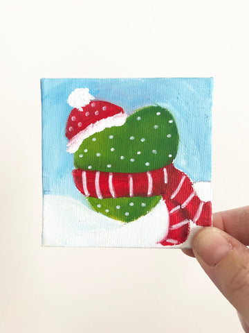 Hand Painted Magnet - Winter Cactus Refrigerator Magnet