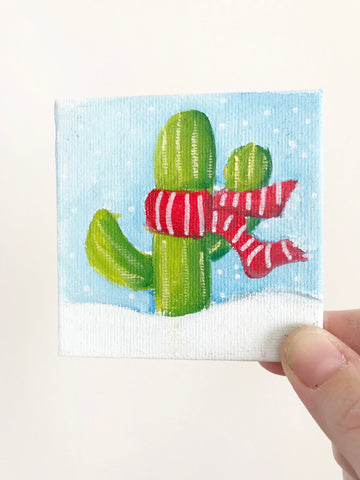 Hand Painted Magnet - Festive Winter Holiday Cactus