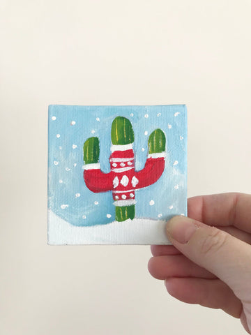Hand Painted Magnet - Holiday Sweater Christmas Cacti