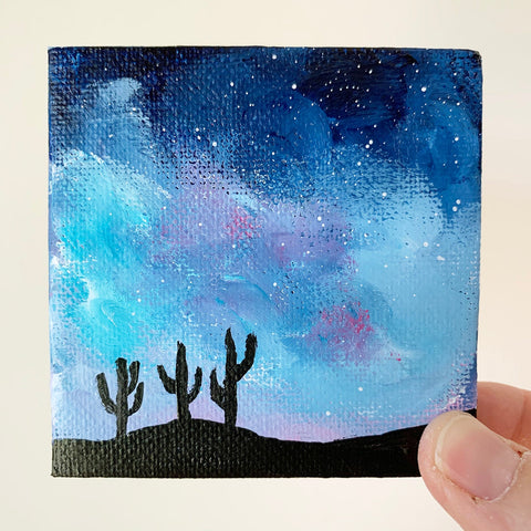 3x3 Mini Tuscon Arizona Milky Way Night Sky - Original Acrylic Painting