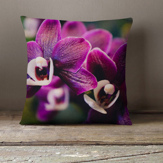 Purple Orchid Decorative Throw Pillow Cover