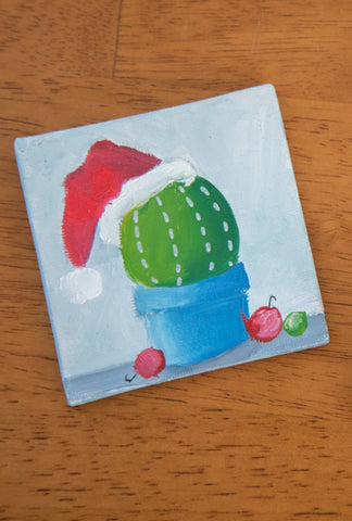Hand Painted Magnet -  Holiday Cactus Magnet - april bern art & photography