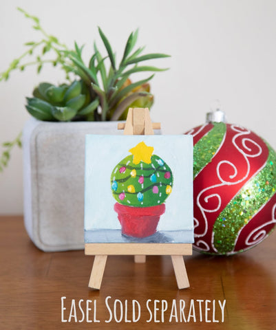 Hand Painted Magnet - Festive Winter Holiday Cactus - april bern photography