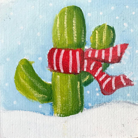 Hand Painted Magnet - Festive Winter Holiday Cactus - april bern art & photography