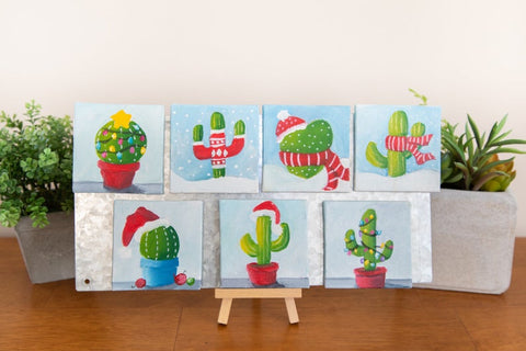Hand Painted Magnet - Winter Cactus Refrigerator Magnet - april bern photography
