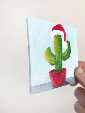 Hand Painted Magnet - Festive Christmas Cactus Refrigerator Magnet - april bern art & photography