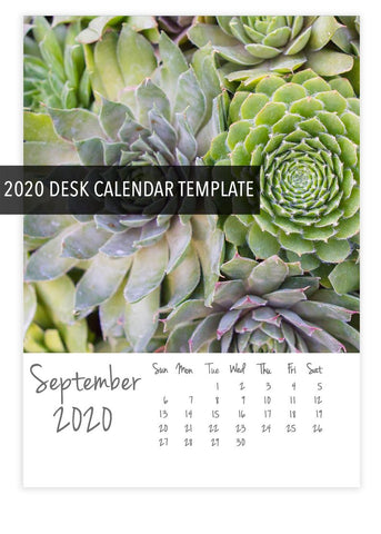 2020 DIY Desk Calendar Template- Instant Download