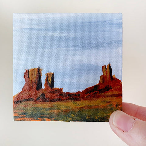 3x3 Tiny Monument Valley Landscape Painting - Original Acrylic Painting