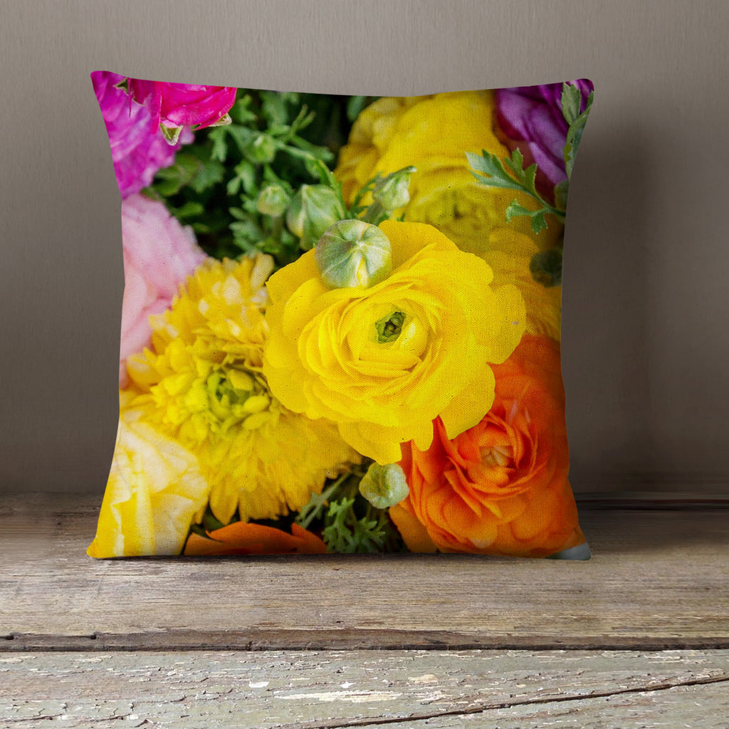 Bold and Bright Ranunculus Fine Art Photo Decorative Throw Pillow Cover - april bern photography