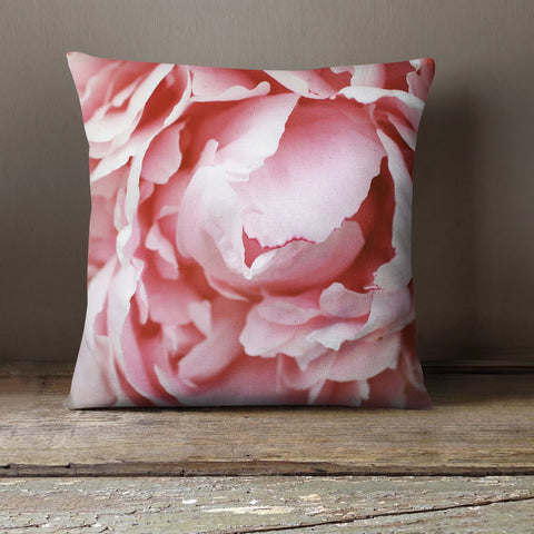 Pink Peony Decorative Throw Pillow Cover