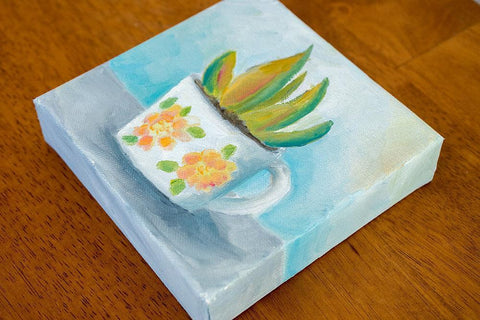 Succulent and Vintage Coffee Mug Painting - 6x6 Original Oil - april bern photography