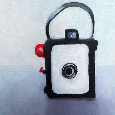 "Vintage Camera Original Oil Painting 8""x8"""