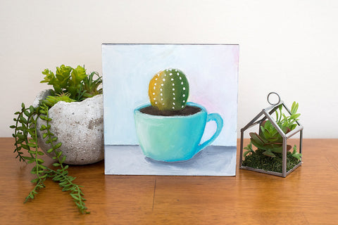 Succulent Painting - Blue Vintage Coffee Mug