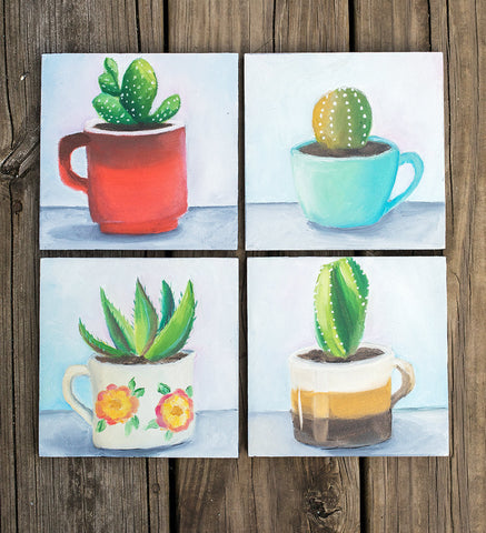 Succulent Painting - Retro Coffee Mug - april bern photography