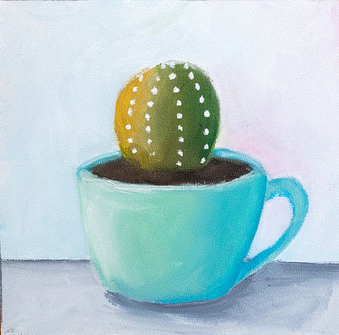 Succulent Painting - Vintage Teal Coffee Mug - april bern photography
