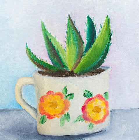 Succulent Painting - Vintage Enamel Coffee Mug - april bern photography