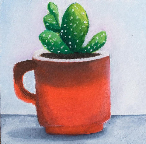 Succulent Painting - Retro Coffee Mug Painting