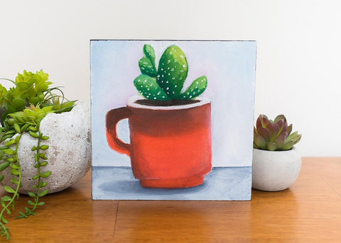 Succulent Painting - Retro Coffee Mug