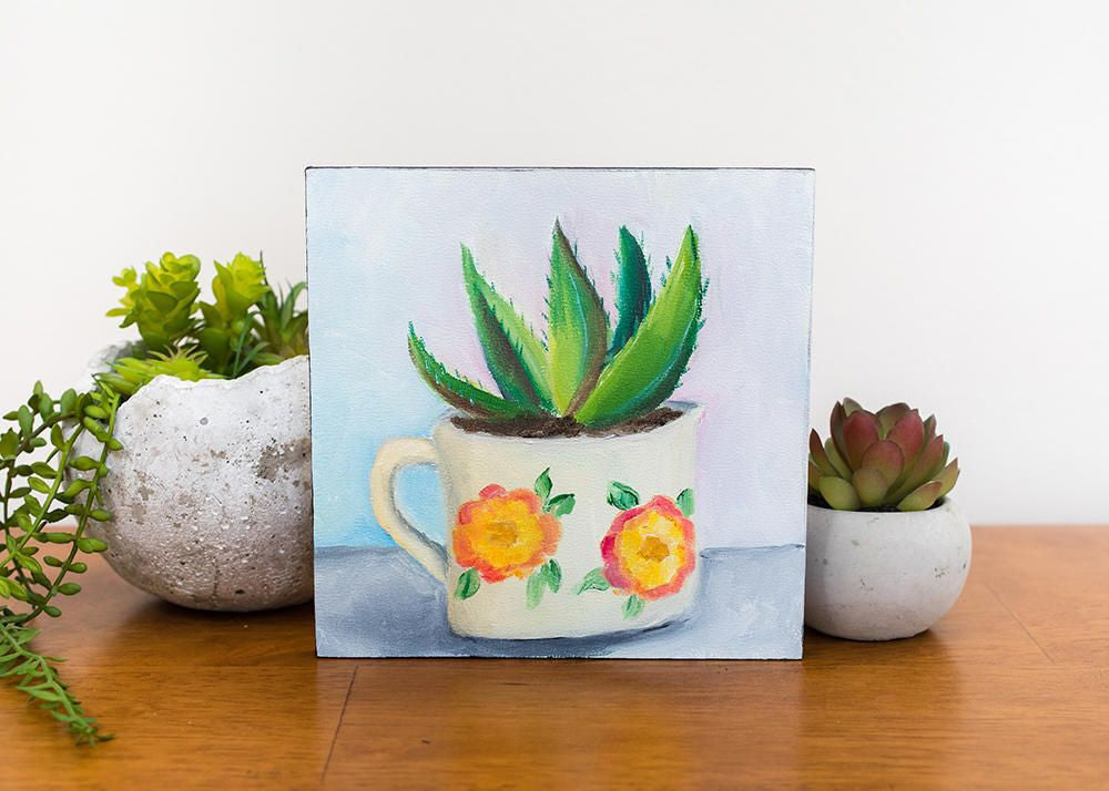 Succulent Art Painting Enamel Mug – Coffee April Bern Vintage TlFK1cJ