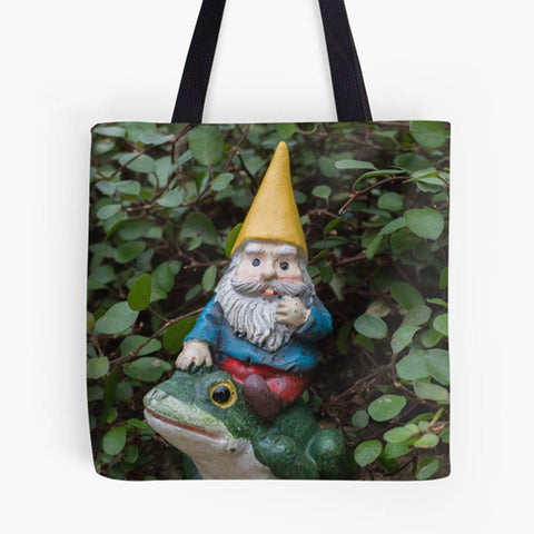 Ready to Ship - 13x13 Garden Gnome & Frog Canvas Tote Bag - april bern photography