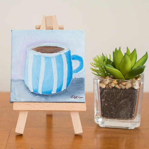 "Mini Coffee Cup - 3""x3"" Original Oil Painting"