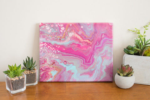 Pink Abstract Painting - 8x10 Pink Waves Abstract Art - april bern photography