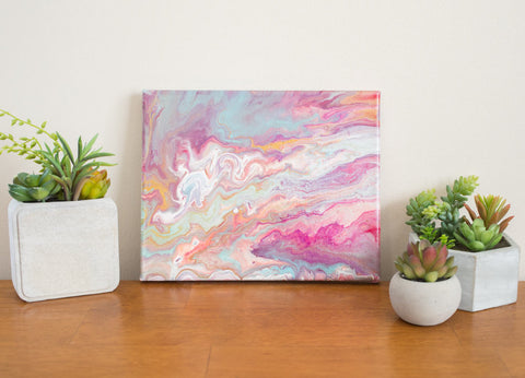 pink clouds 8x10 abstract painting