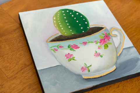 Cactus in Vintage Teacup - 8x8 inch Original Oil Painting - april bern photography