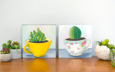 Succulent in Yellow Vintage Teacup - 8x8 inch Original Oil Painting - april bern photography