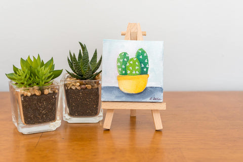 Small Cactus Trio Painting - 3x3 Original Oil Painting - april bern photography