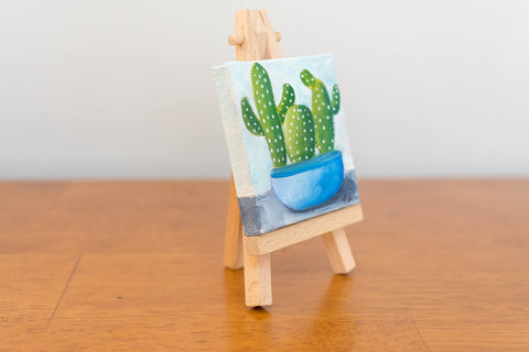 Cactus Art, Mini Cactus Trio Original Oil Painting - 3x3 Original Oil Painting - april bern photography
