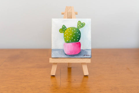 Cute Tiny Cactus Painting - 3x3 Original Oil Painting - april bern photography