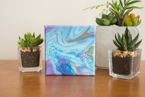 Purple and Blue Abstract Painting - 4x4 Abstract Art - april bern photography