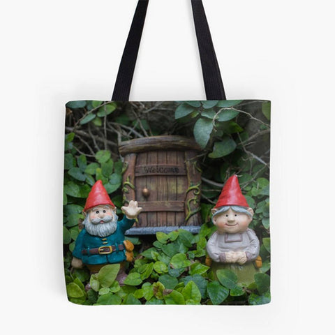 Ready to Ship - 16x16 Welcome Gnome Canvas Tote Bag - april bern photography