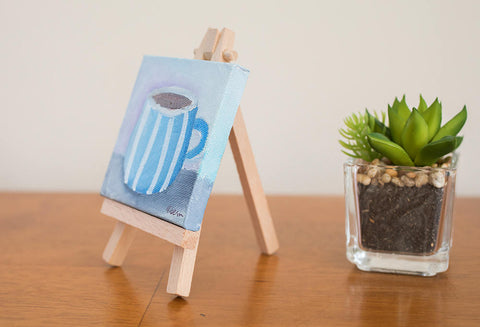 "Mini Coffee Cup - 3""x3"" Original Oil Painting - april bern photography"