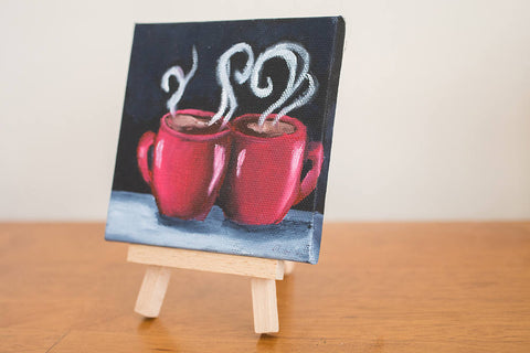 Mini Coffee Cup Love - 4x4 Original Oil Painting - april bern photography