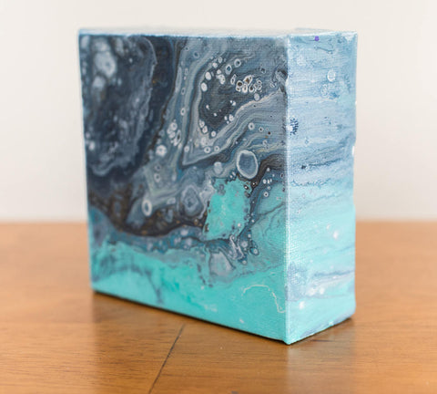 Tiny Ocean - 4x4 Abstract Acrylic Painting - april bern photography